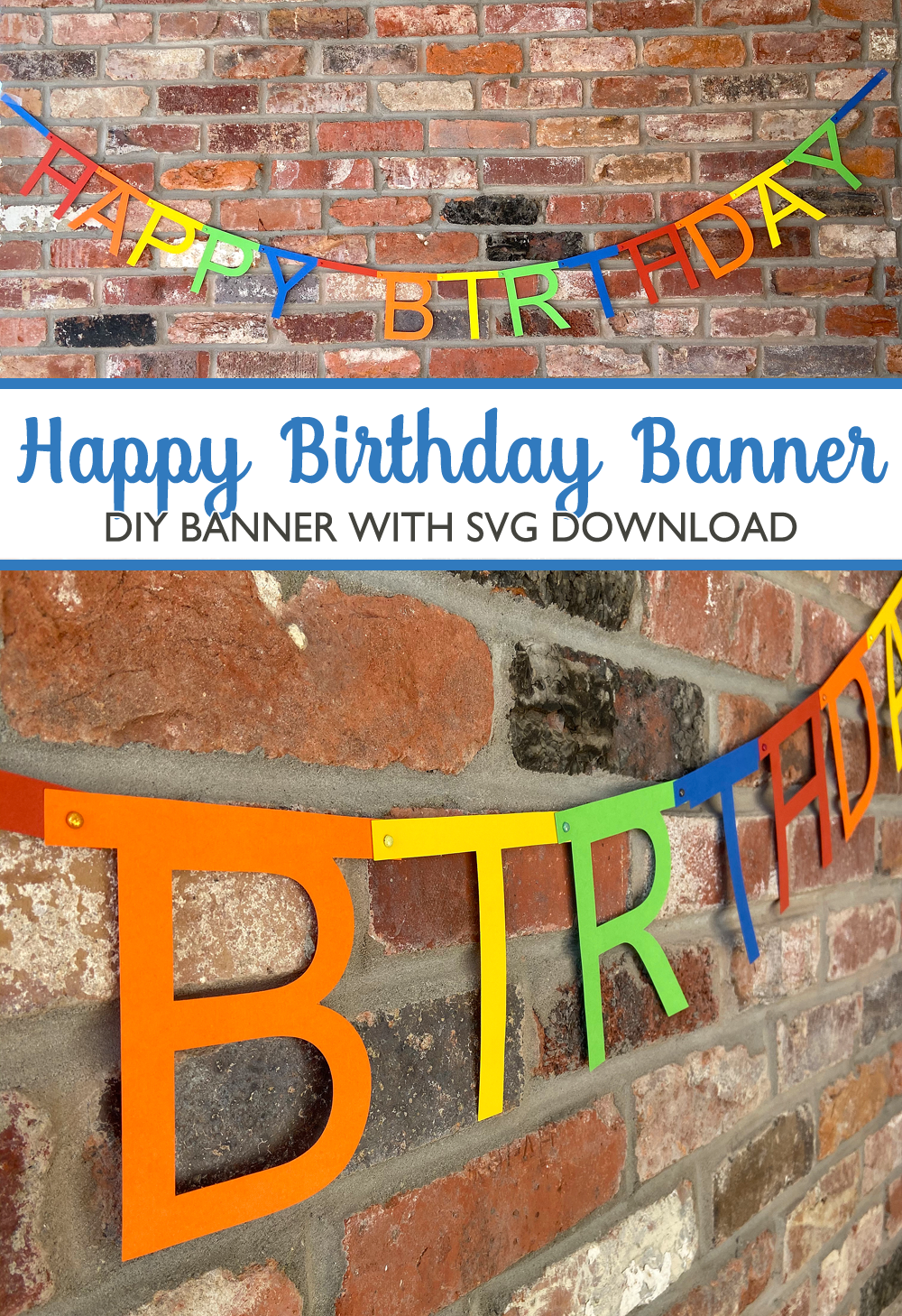 Pazzles DIY Happy Birthday Banner with SVG instant download. Design by Sara Weber.