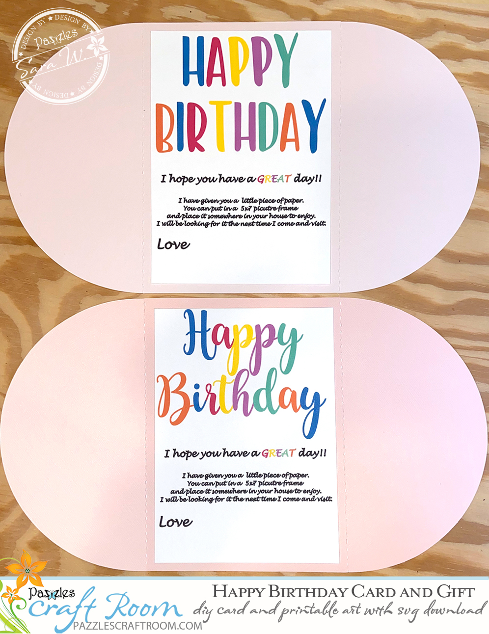 Pazzles DIY Trifold Birthday Card and Gift with instant SVG download. Compatible with all major electronic cutters including Pazzles Inspiration, Cricut, and Silhouette Cameo. Design by Sara Weber.