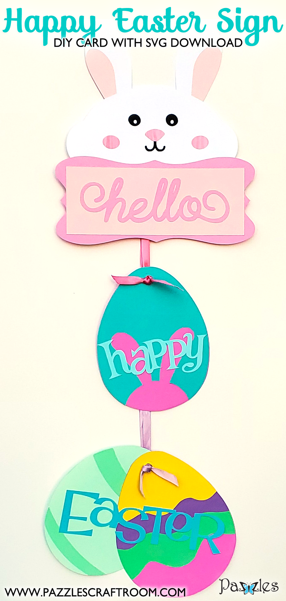 Pazzles DIY Happy Easter Sign with instant SVG download.  Instant SVG download compatible with all major electronic cutters including Pazzles Inspiration, Cricut, and Silhouette Cameo. Design by Renee Smart.
