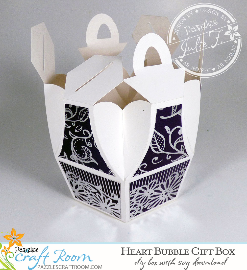 Pazzles DIY Heart Bubble Gift Box with instant SVG download. Compatible with all major electronic cutters including Pazzles Inspiration, Cricut, and Silhouette Cameo. Design by Julie Flanagan.