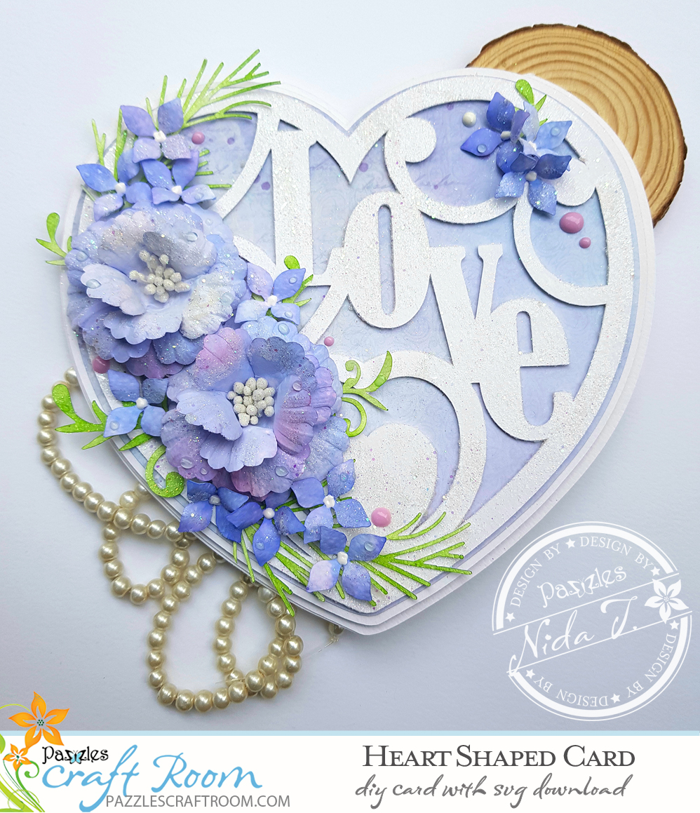 Pazzles DIY Heart Shaped Love Card for Valentines Day with instant SVG download. Compatible with all electronic cutters including Pazzles Inspiration, Cricut, and Silhouette Cameo. Design by Nida Tanweer.