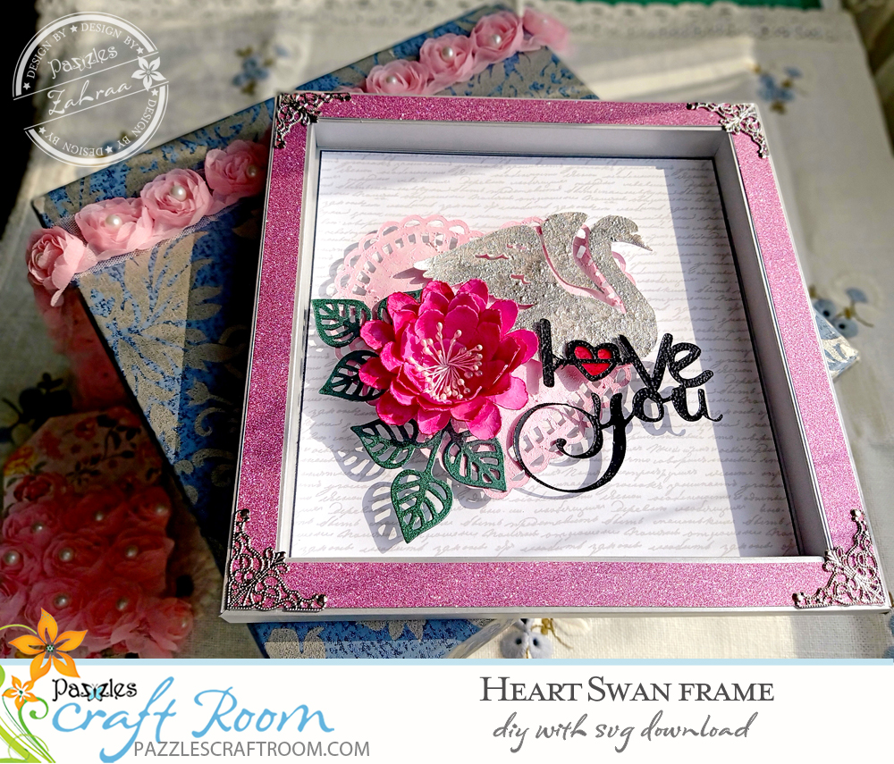 Pazzles DIY Heart Swan Frame with instant SVG download. Compatible with all major electronic cutters including Pazzles Inspiration, Cricut, and Silhouette Cameo. Design by Zahraa Darweesh.