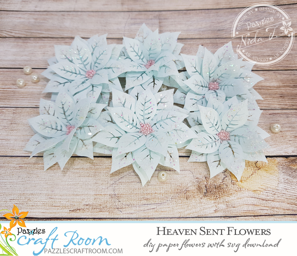 Pazzles DIY Heaven Sent Paper Flowers with instant SVG download. Instant SVG download compatible with all major electronic cutters including Pazzles Inspiration, Cricut, and Silhouette Cameo. Design by Nida Tanweer.