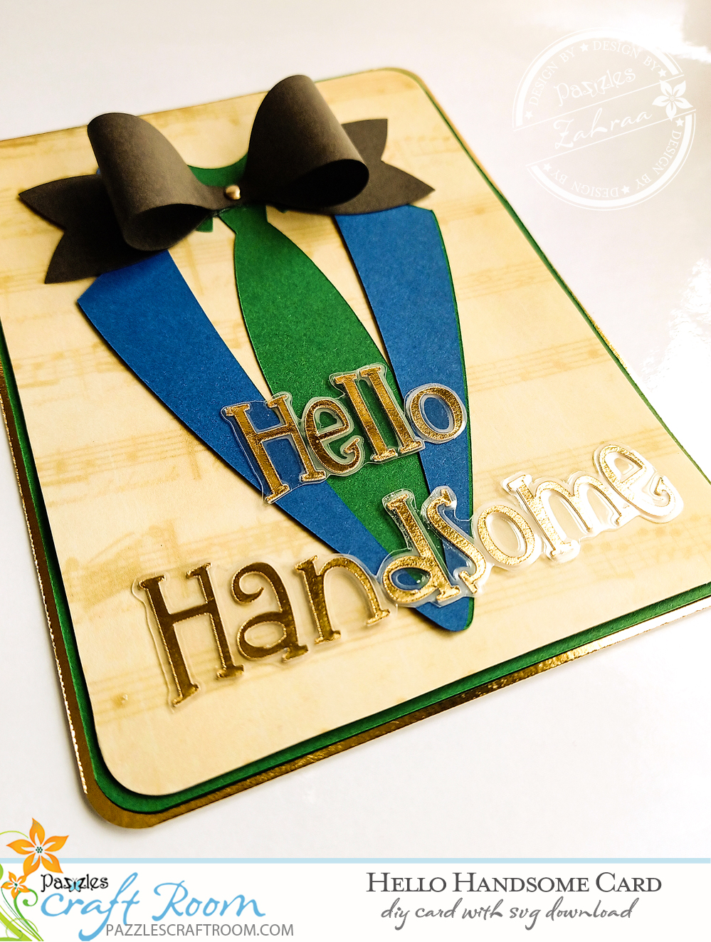Pazzles DIY Hello Handsome Card with instant SVG download. Instant SVG download compatible with all major electronic cutters including Pazzles Inspiration, Cricut, and Silhouette Cameo. Design by Zahraa Darweesh.