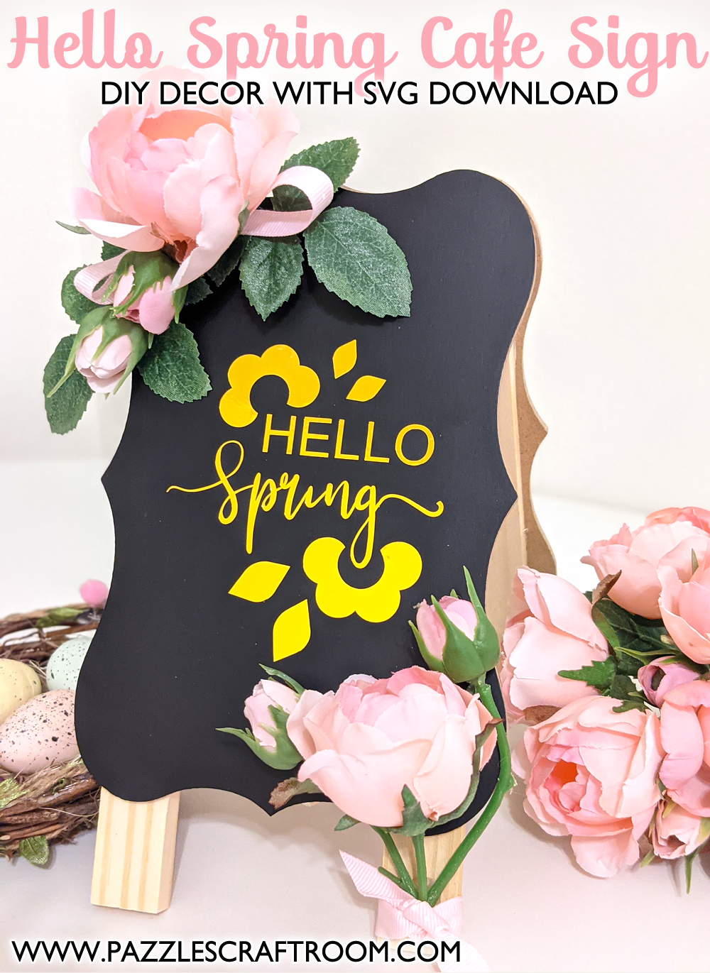 Pazzles DIY Hello Spring Cafe Sign with instant SVG download. Instant SVG download compatible with all major electronic cutters including Pazzles Inspiration, Cricut, and Silhouette Cameo. Design by Monica Martinez.