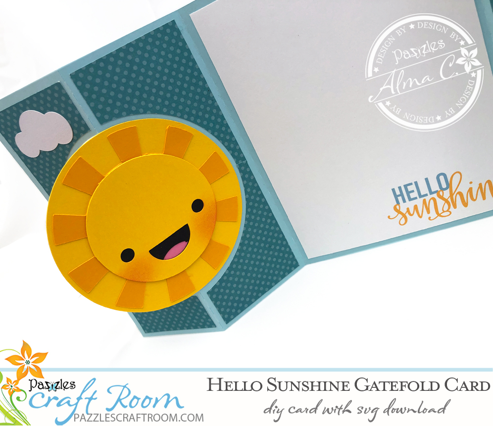 Pazzles Hello Sunshine DIY Gatefold Card with instant SVG download- Compatible with all major electronic cutters including Pazzles Inspiration, Cricut, and Silhouette. Design by Alma Cervantes.