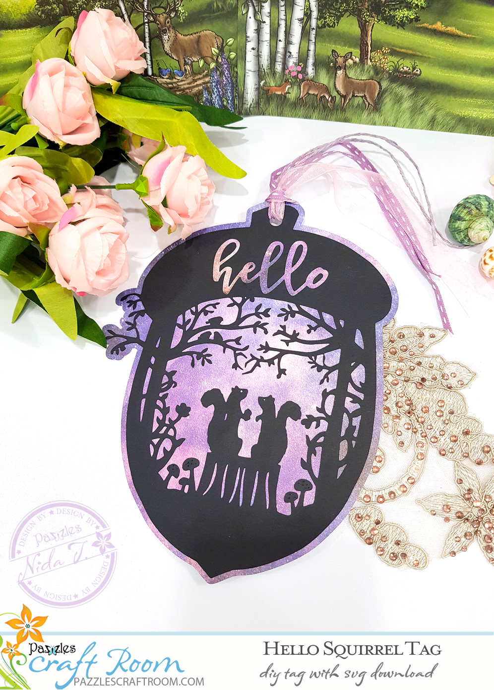 Pazzles DIY Hello Squirrel Tag with instant SVG download. Compatible with all major electronic cutters including Pazzles Inspiration, Cricut, and Silhouette Cameo. Design by Nida Tanweer.