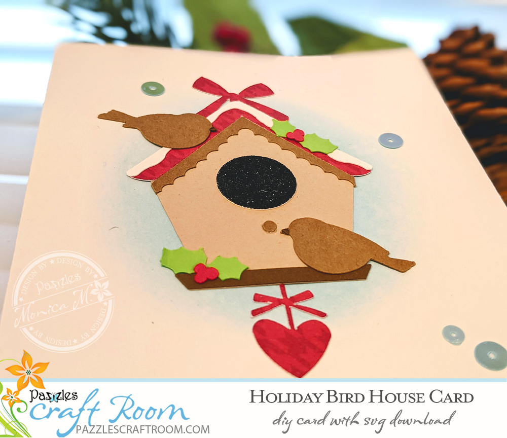 Pazzles DIY Holiday Birdhouse Card with instant SVG download. Compatible with all major electronic cutters including Pazzles Inspiration, Cricut, and Silhouette Cameo. Design by Monica Martinez.