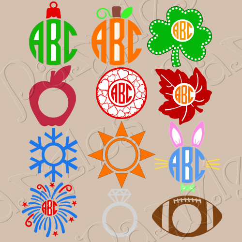 holiday vinyl monogram files