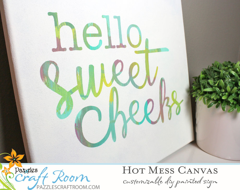 Pazzles DIY Bathroom Hot Mess Canvas by Amanda Vander Woude