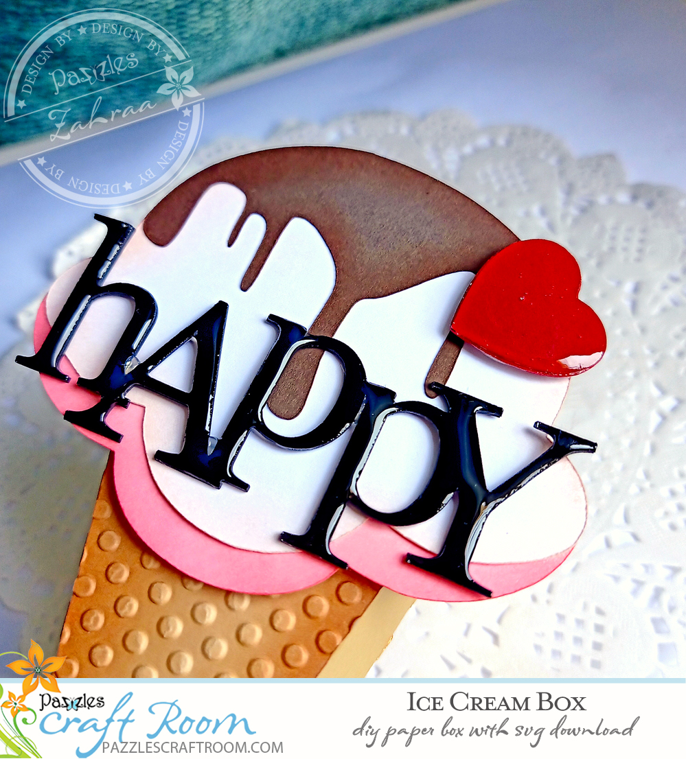 Pazzles DIY Ice Cream Box. Instant SVG download compatible with all major electronic cutters including Pazzles Inspiration, Cricut, and Silhouette Cameo. Design by Zahraa Darweesh.