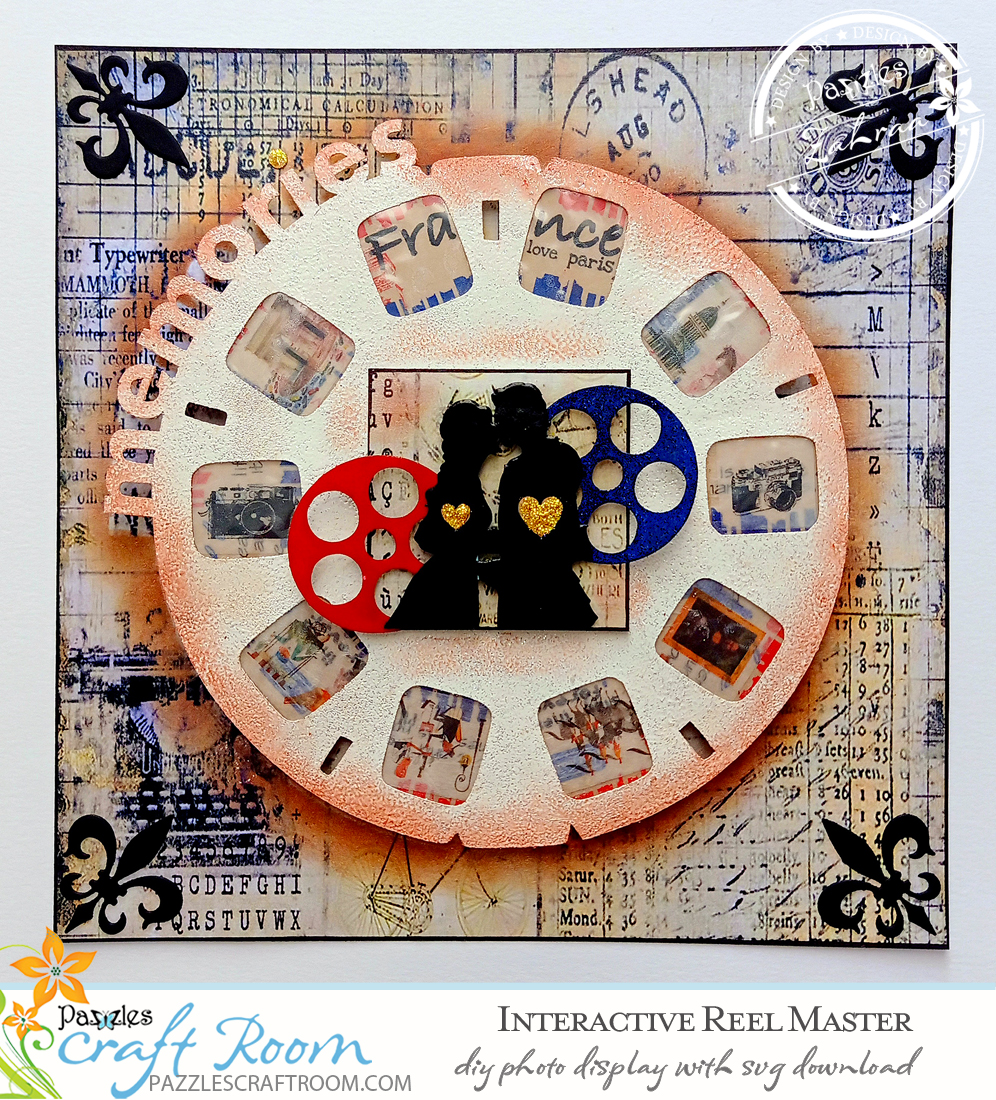 Pazzles DIY Interactive Photo Reel Display with instant SVG download. Compatible with all major electronic cutters including Pazzles Inspiration, Cricut, and Silhouette Cameo. Design by Zahraa Darweesh.