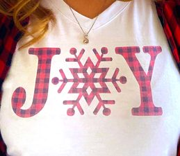 Pazzles Joy DIY Christmas Shirt with instant SVG download. Compatible with all major electronic cutters including Pazzles Inspiration, Cricut, and Silhouette Cameo. Design by Sara Weber.