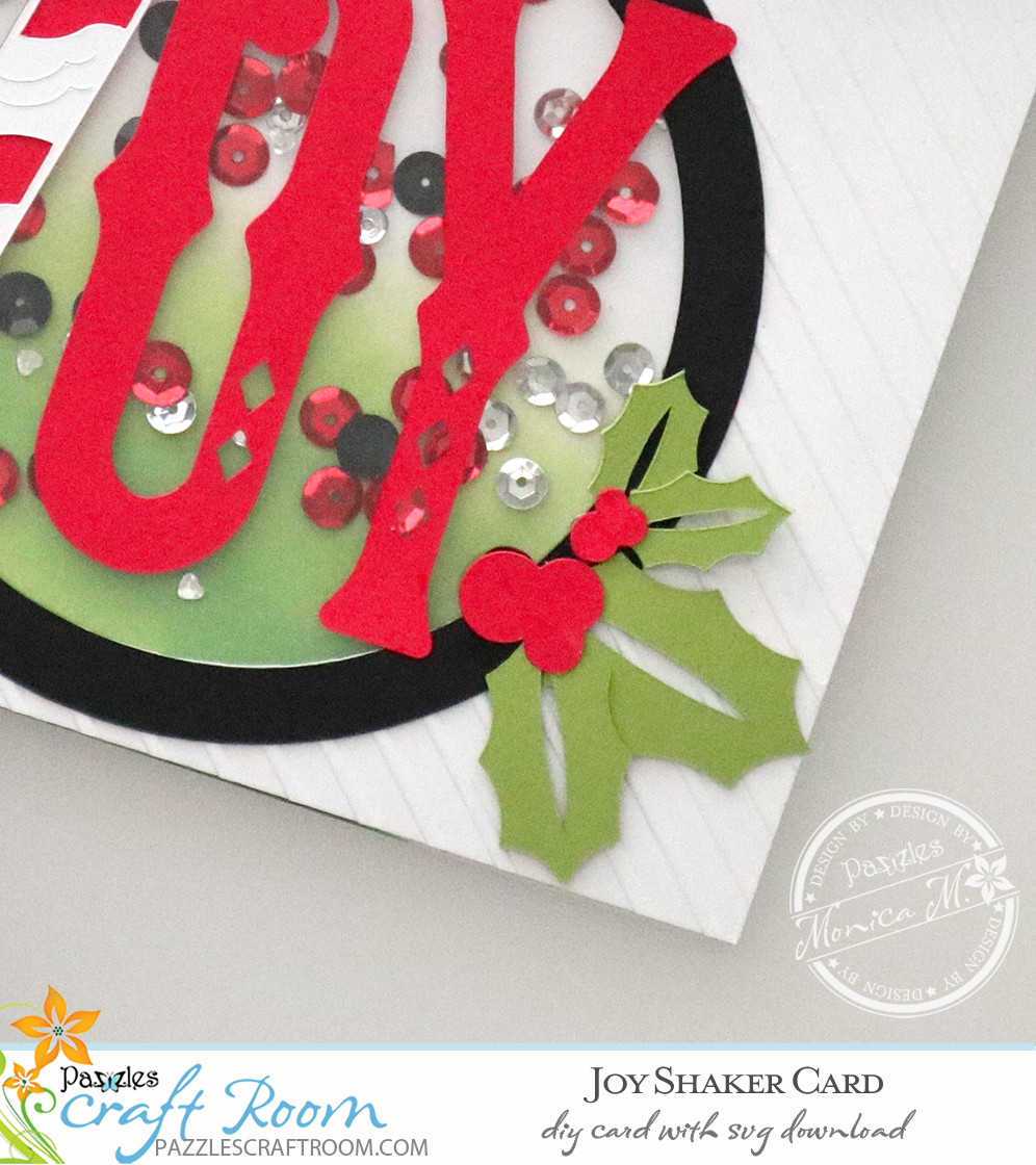 Pazzles Christmas DIY Joy Shaker Card with instant SVG download. Compatible with all major electronic cutters including Pazzles, Cricut, and Silhouette Cameo. Design by Monica Martinez.
