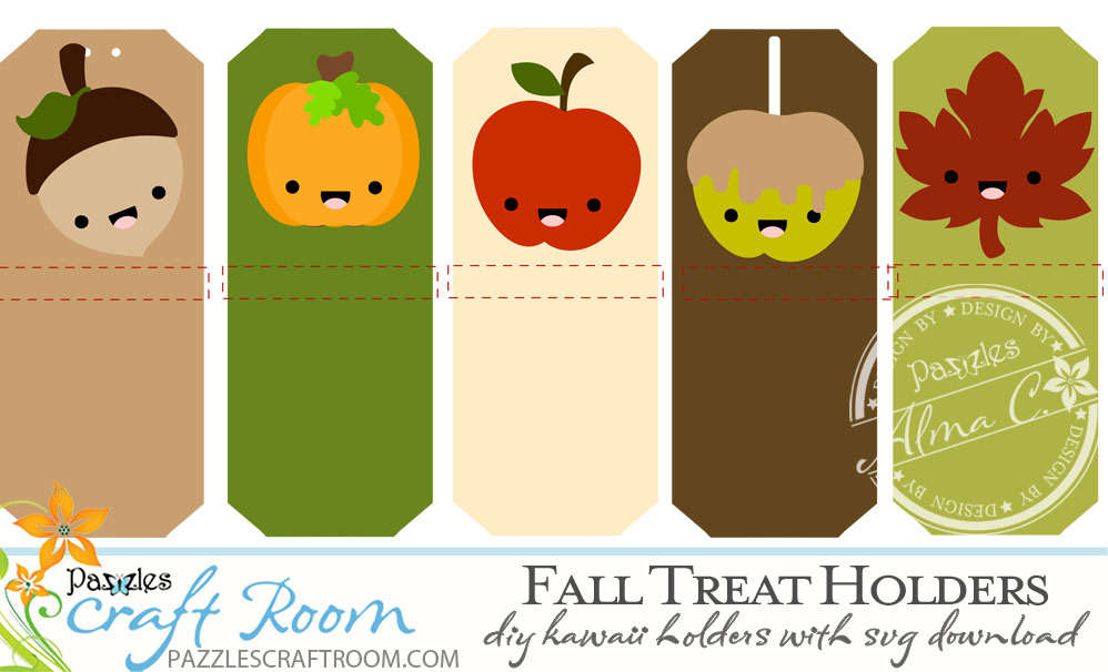 Pazzles DIY Kawaii Fall Treat Holders with SVG download compatible with Pazzles Inspiration, Cricut, and Silhouette Cameo by Alma Cervantes
