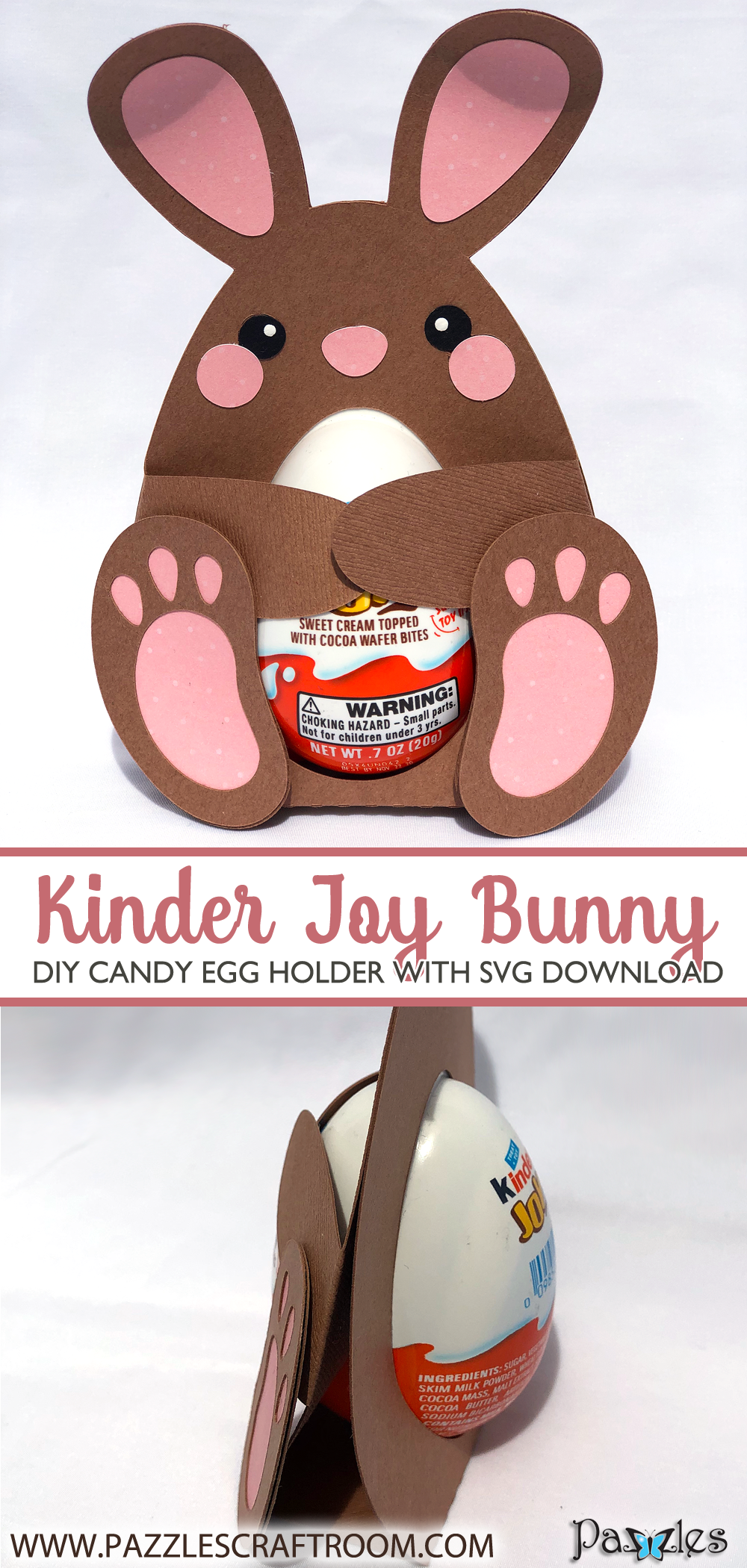 Pazzles DIY Candy Egg Bunny Holder for Kinder Joy with instant SVG download. Compatible with all major electronic cutters including Pazzles Inspiration, Cricut, and Silhouette Cameo. Design by Alma Cervantes.