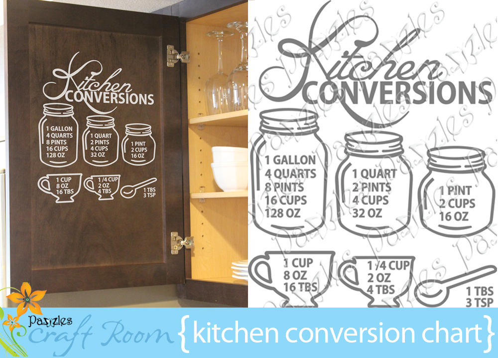 Kitchen Conversion Chart Pazzles Craft Room