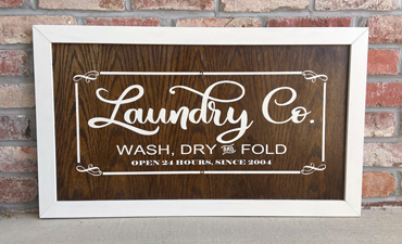Pazzles DIY Laundry Sign with instant SVG download. Compatible with all major electronic cutters including Pazzles Inspiration, Cricut, and Silhouette Cameo. Design by Sara Weber.