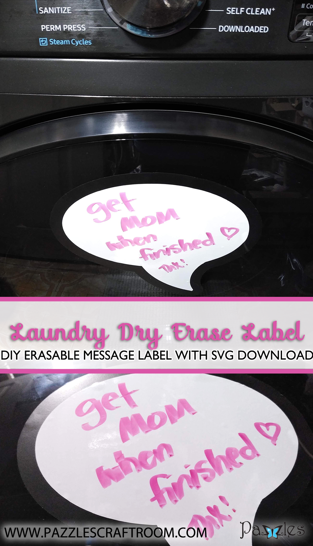 Pazzles DIY Laundry Dry Erase Labels with instant SVG download. Compatible with all major electronic cutters including Pazzles Inspiration, Cricut, and Silhouette Cameo. Design by Renee Smart.