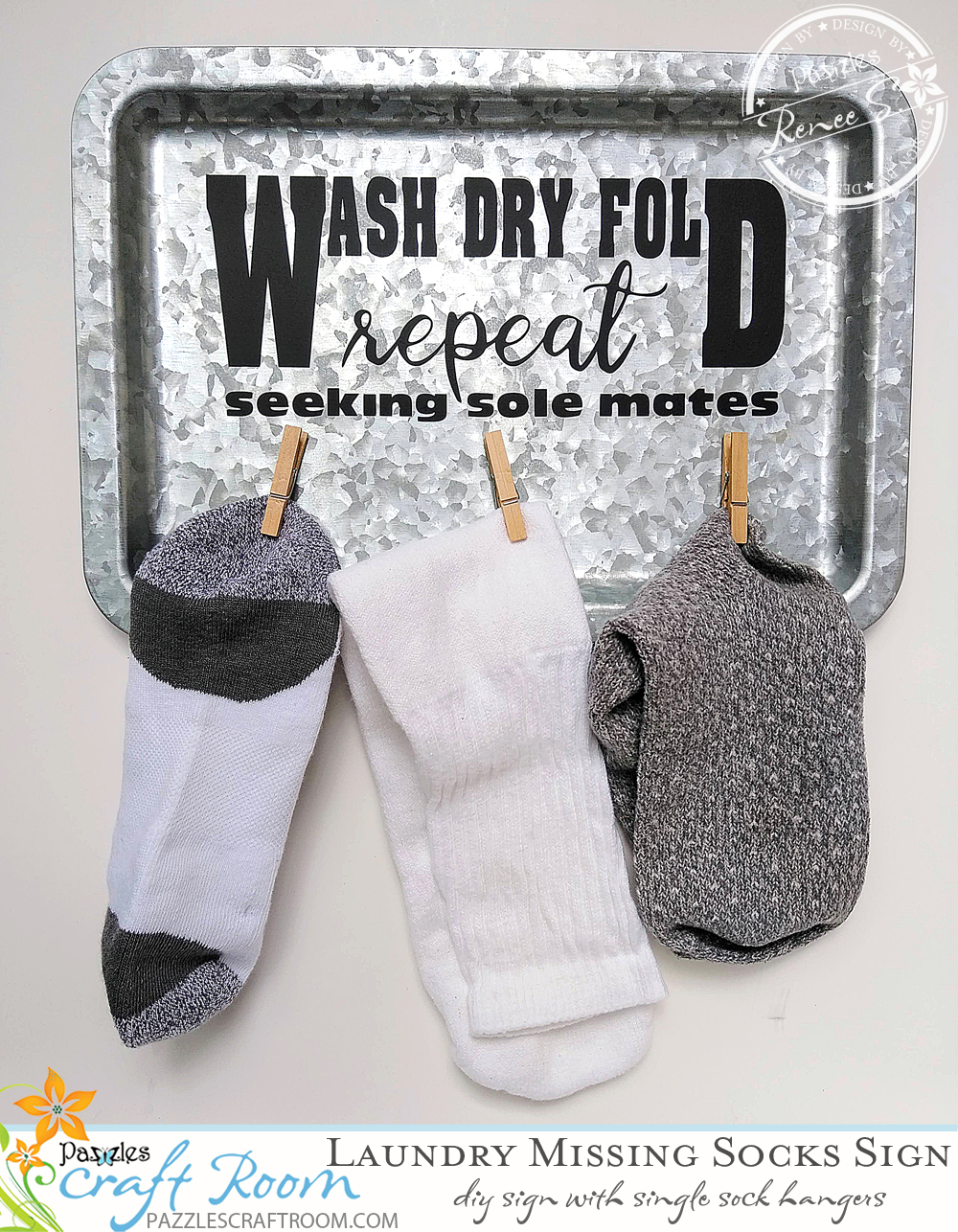 Pazzles DIY Laundry Sign for Missing Socks by Renee Smart Instant SVG Download