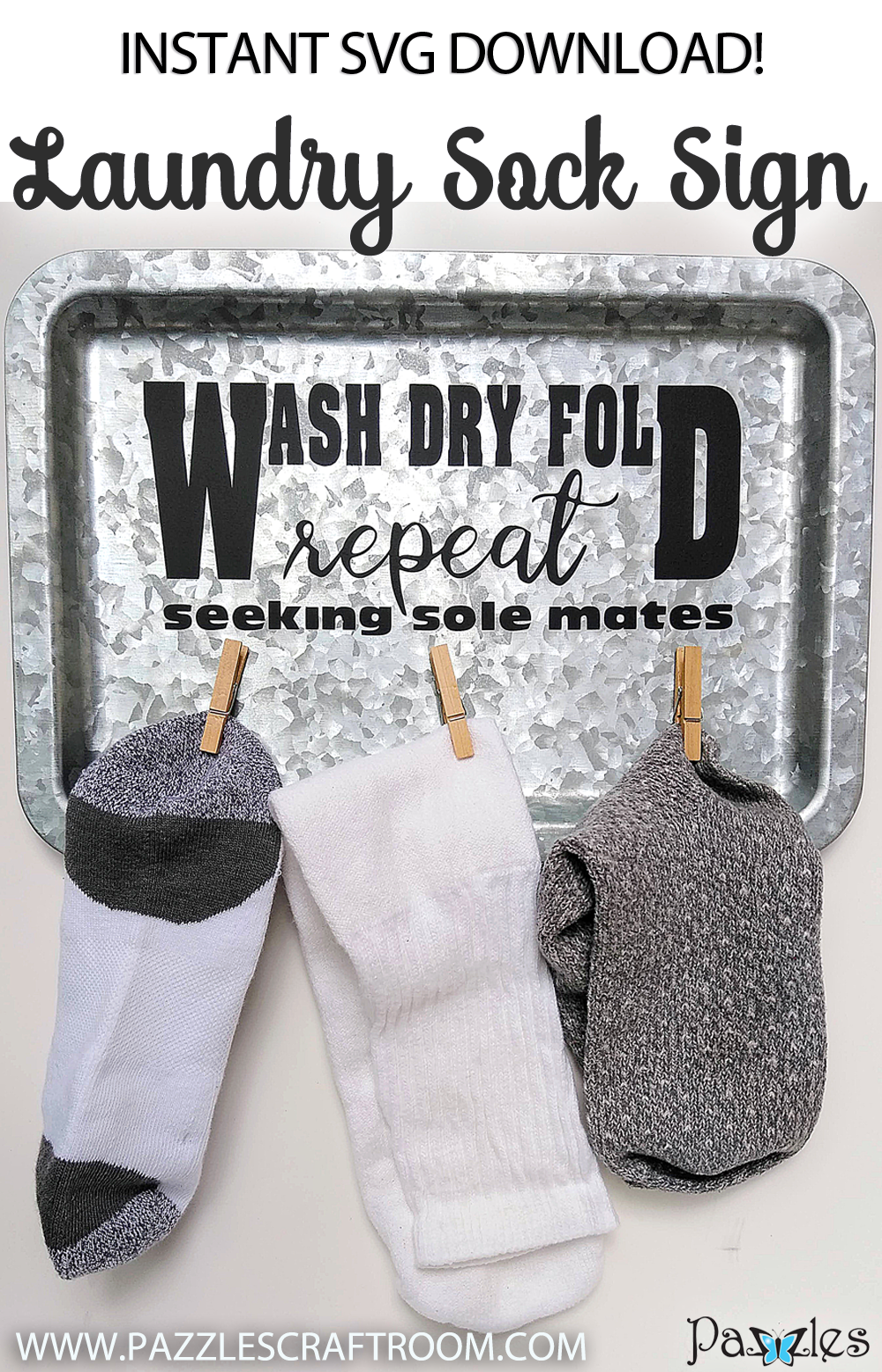 Pazzles DIY Laundry Missing Sock Sign by Renee Smart Instant SVG Download