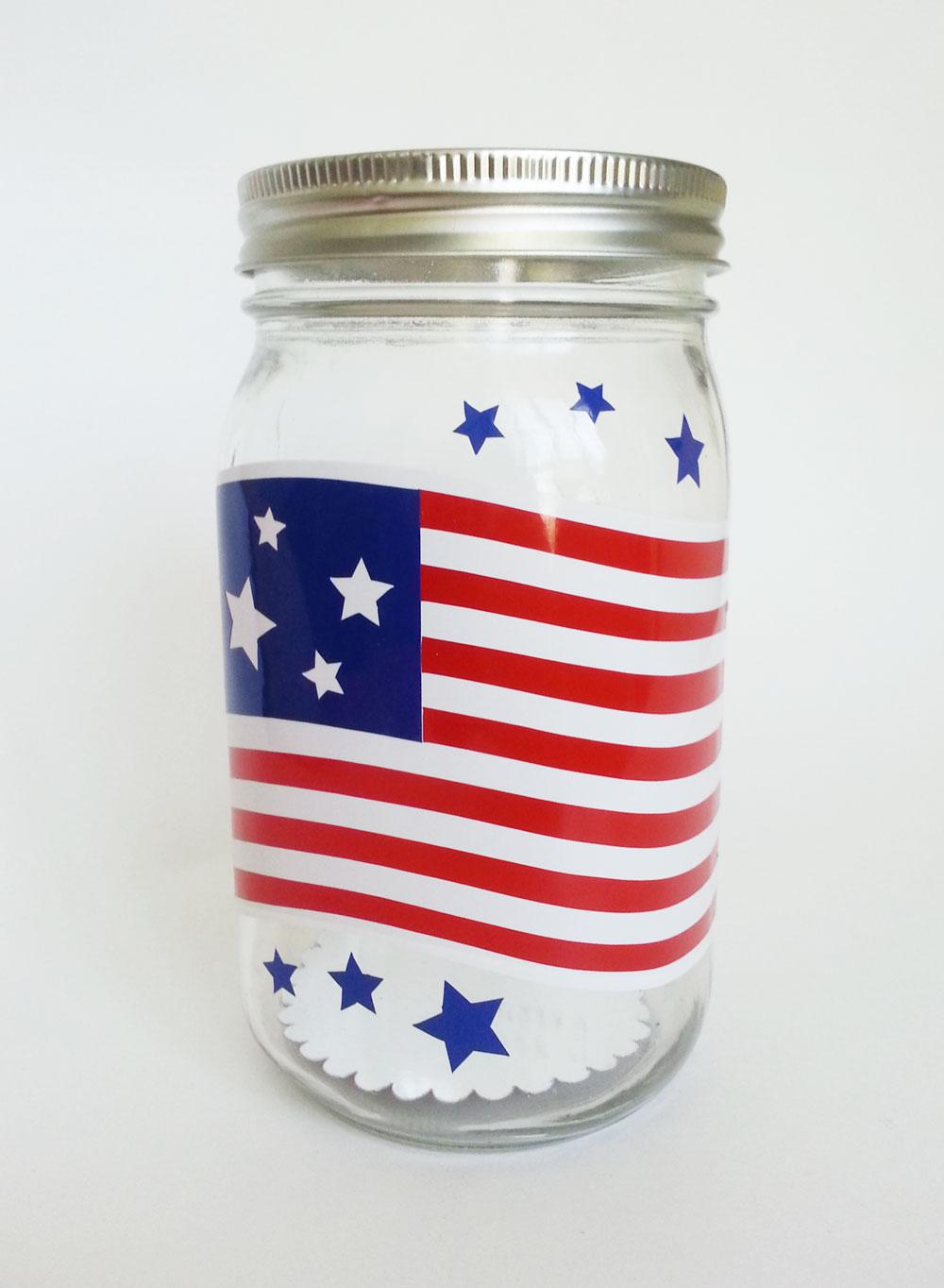 Patriotic Vinyl Mason Jar