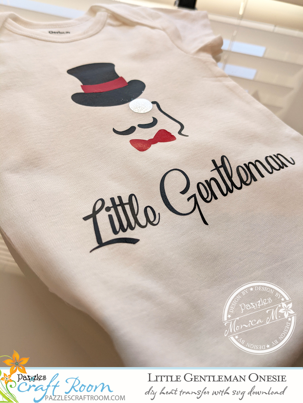 Pazzles DIY Little Gentleman Onesie with instant SVG download.  Instant SVG download compatible with all major electronic cutters including Pazzles Inspiration, Cricut, and Silhouette Cameo. Design by Monica Martinez.
