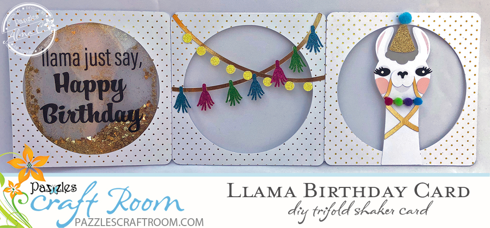 Pazzles Llama Birthday Card Trifold with Glitter Shaker by SVGCuttables