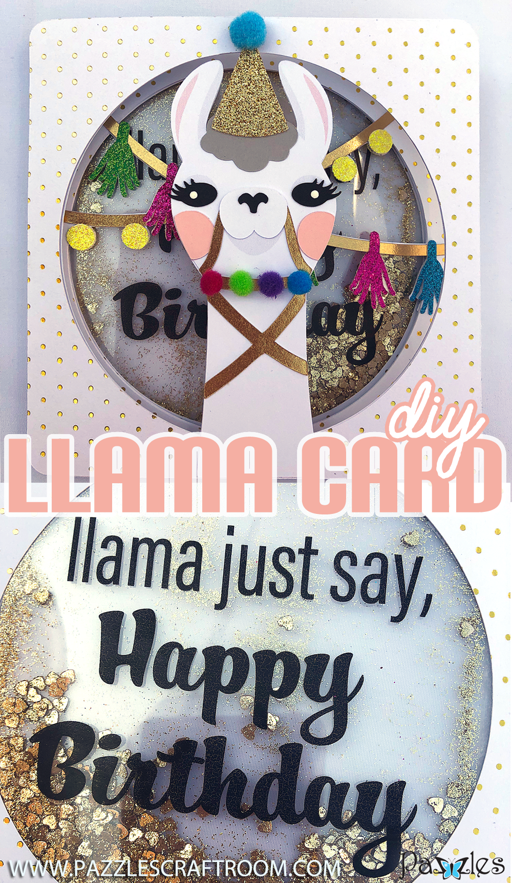 Pazzles DIY Llama Birthday Card Trifold with Glitter Shaker by SVGCuttables. Instant Download in SVG, AI, and WPC. Compatible with Pazzles, Cameo Silhouette, and Cricut.