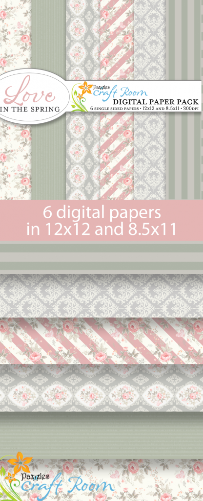Pazzles DIY Love in the Spring digital papers with instant download.