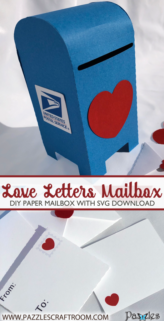 Pazzles DIY Love Letters Mailbox for Valentine's Day. Instant SVG download compatible with all major electronic cutters including Pazzles Inspiration, Cricut, and Silhouette Cameo. Design by Alma Cervantes.