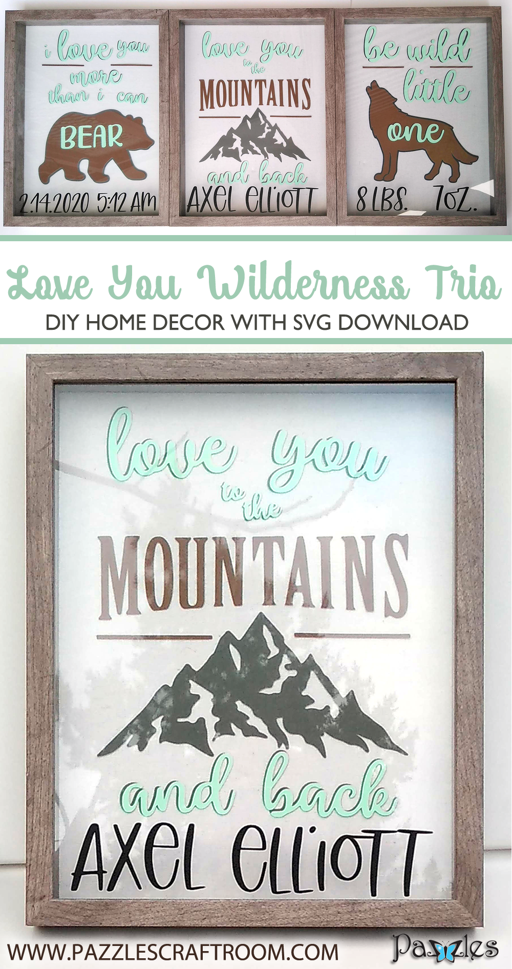 Pazzles DIY Wilderness Wall Trio for nursery with instant SVG download. Compatible with all major electronic cutters including Pazzles Inspiration, Cricut, and Silhouette Cameo. Design by Renee Smart.