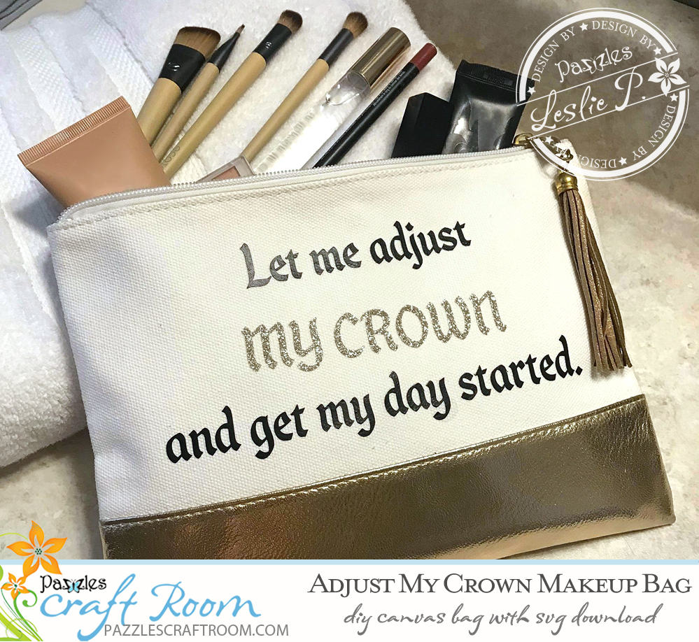 Pazzles DIY Diva Makeup Bag with instant SVG download. Instant SVG download compatible with all major electronic cutters including Pazzles Inspiration, Cricut, and Silhouette Cameo. Design by Leslie Peppers.