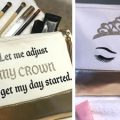 Pazzles DIY Crown Makeup Bag with instant SVG download. Instant SVG download compatible with all major electronic cutters including Pazzles Inspiration, Cricut, and Silhouette Cameo. Design by Leslie Peppers.