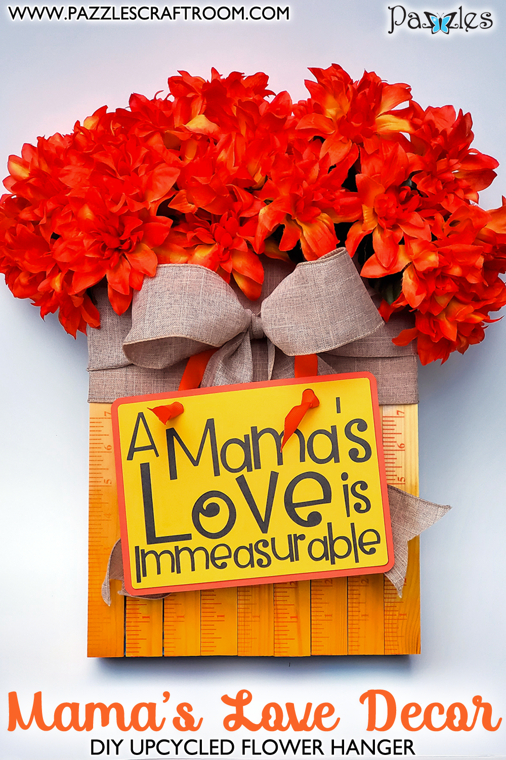 Pazzles DIY Mama's Love Flower Wall Hanger with instant SVG download. Instant SVG download compatible with all major electronic cutters including Pazzles Inspiration, Cricut, and Silhouette Cameo. Design by Renee Smart.