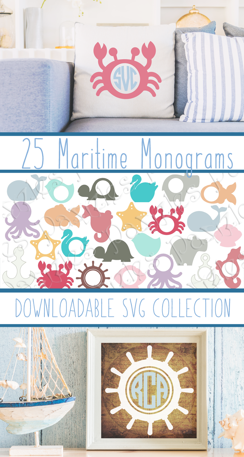 25 Instant Download Ocean Themed Monograms in SVG, AI, and WPC