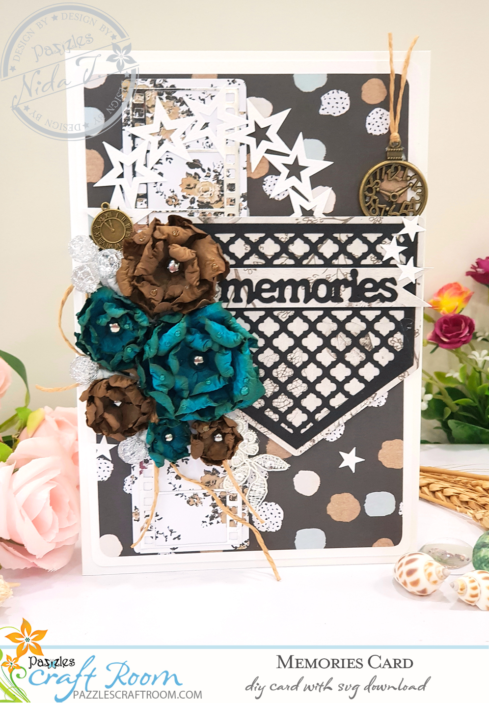 Pazzles DIY Memories Card with instant SVG download. Compatible with all major electronic cutters including Pazzles Inspiration, Cricut, and Silhouette Cameo. Design by Nida Tanweer.