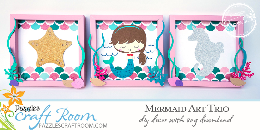 Pazzles DIY Mermaid Art Trio with instant SVG download. Instant SVG download compatible with all major electronic cutters including Pazzles Inspiration, Cricut, and Silhouette Cameo. Design by Renee Smart.