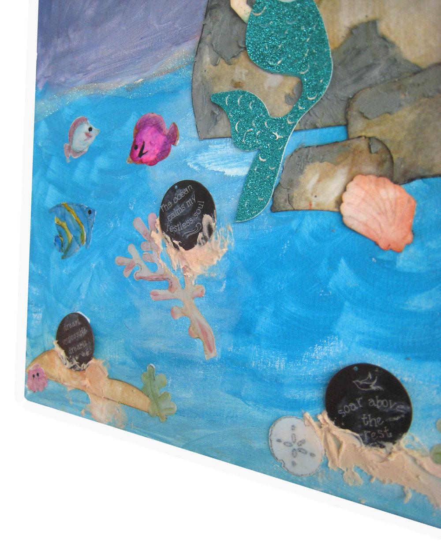 mermaid ocean scene mixed media