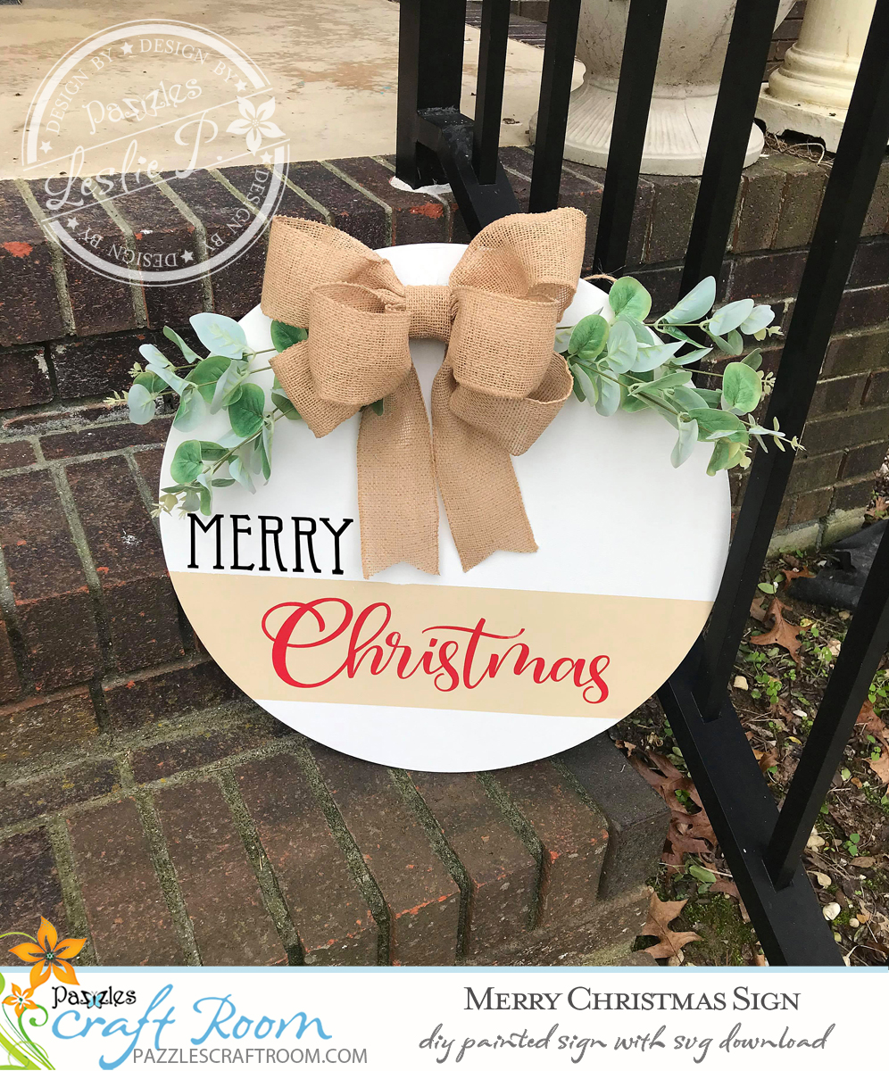 Pazzles Painted DIY Merry Christmas Sign with instant SVG download. Compatible with all major electronic cutters including Pazzles, Cricut, and Silhouette Cameo. Design by Leslie Peppers.