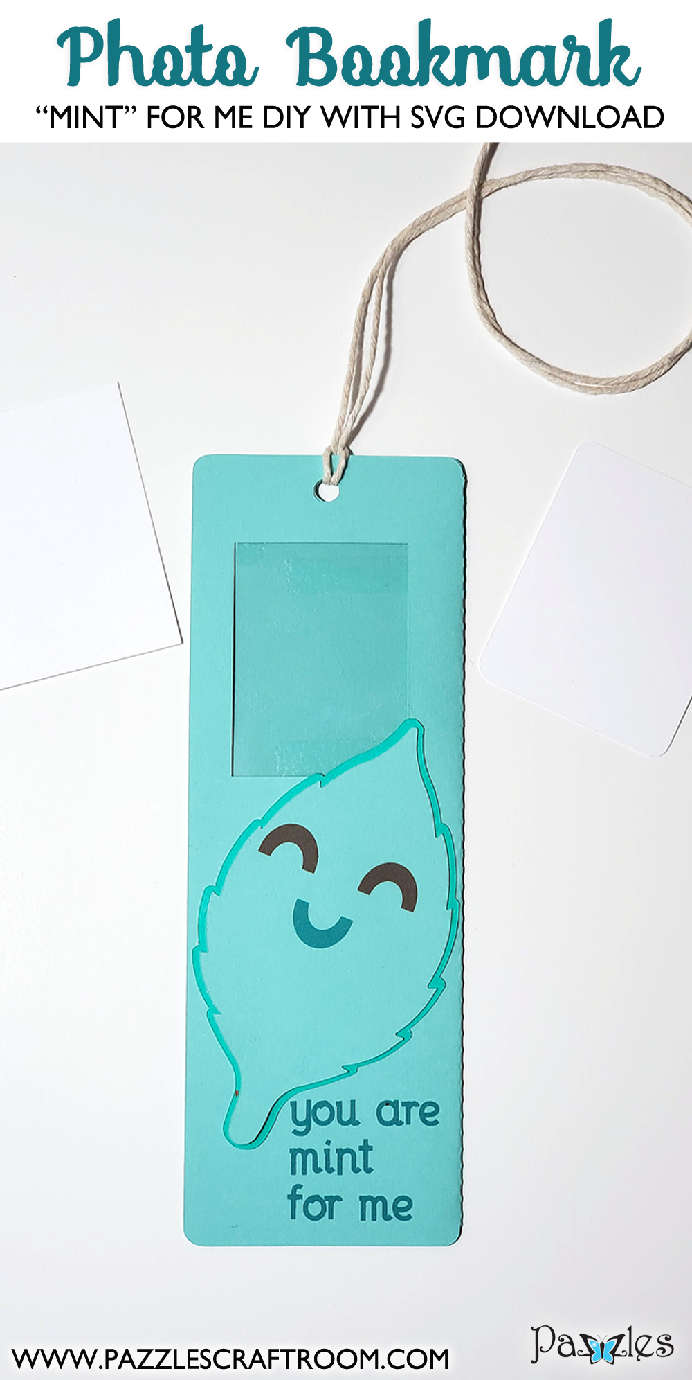Pazzles DIY Mint for Me Photo Bookmark with instant SVG download. Instant SVG download compatible with all major electronic cutters including Pazzles Inspiration, Cricut, and Silhouette Cameo. Design by Renee Smart.