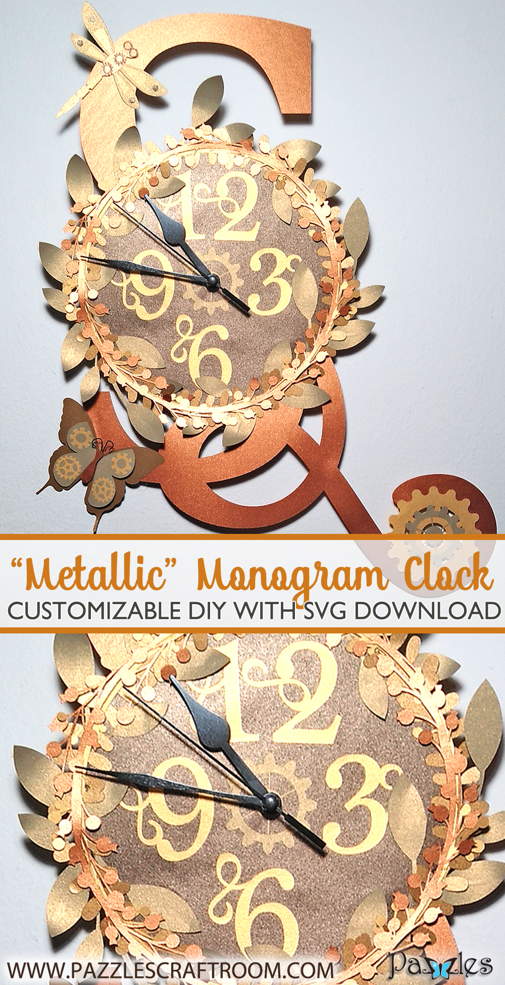 Pazzles Steampunk Metallic DIY Monogram Clock with SVG download by Renee Smart. Compatible with all major electronic cutters including Pazzles Inspiration, Cricut, and Silhouette Cameo.