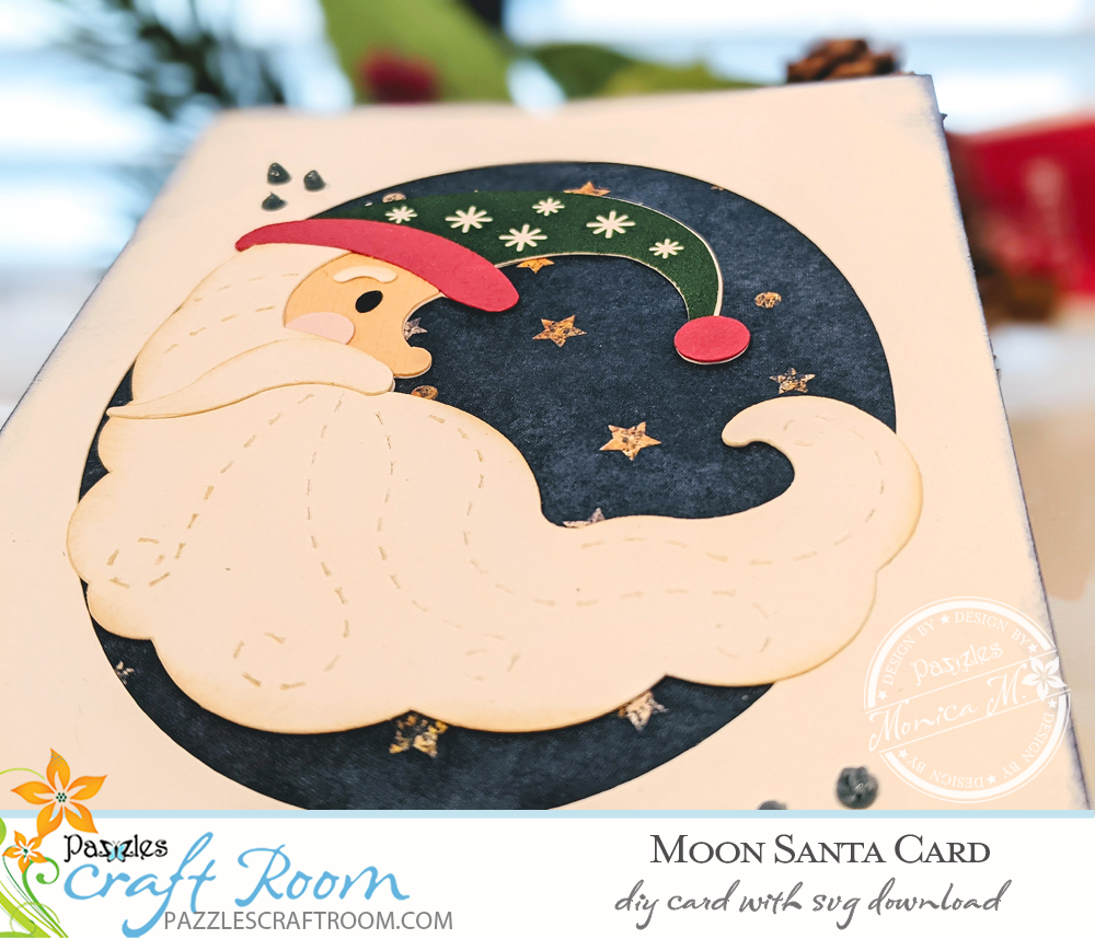 Pazzles DIY Moon Santa Card with instant SVG download. Compatible with all major electronic cutters including Pazzles Inspiration, Cricut, and Silhouette Cameo. Design by Monica Martinez.