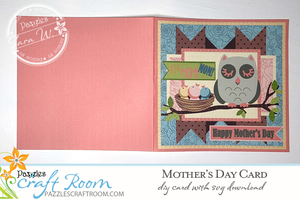 Pazzles DIY Happy Mother's Day Card with instant SVG download. Instant SVG download compatible with all major electronic cutters including Pazzles Inspiration, Cricut, and Silhouette Cameo. Design by Sara Weber.