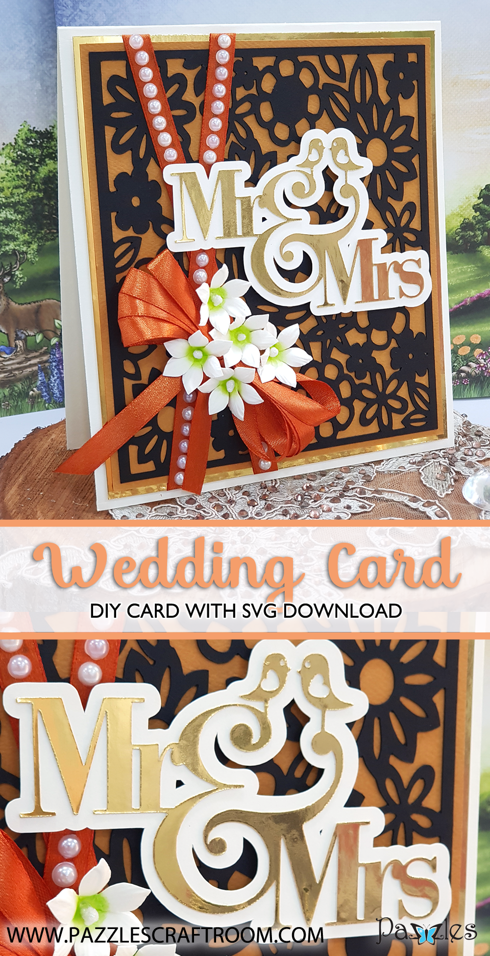 Pazzles Mr and Mrs DIY Wedding Card with instant SVG download. Compatible with all major electronic cutters including Pazzles Inspiration, Cricut, and Silhouette Cameo. Design by Nida Tanweer.