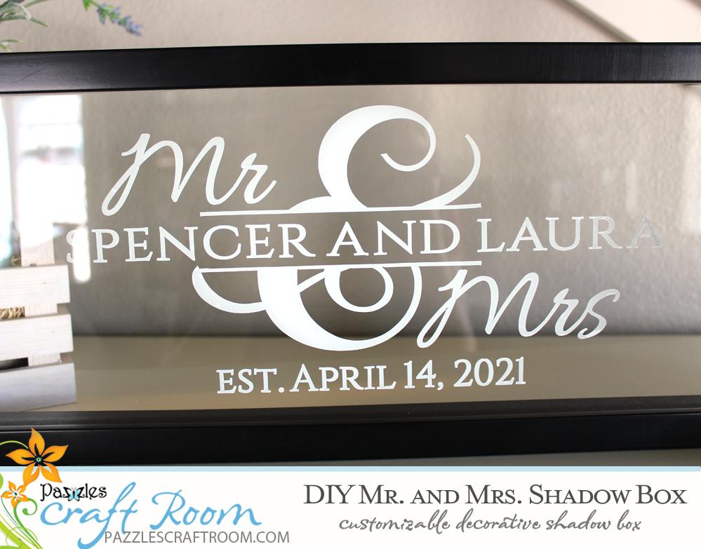 Pazzles DIY Custom Mr and Mrs Shadow Box. Instant SVG download compatible with all major electronic cutters including Pazzles Inspiration, Cricut, and Silhouette Cameo. Design by Amanda Vander Woude.