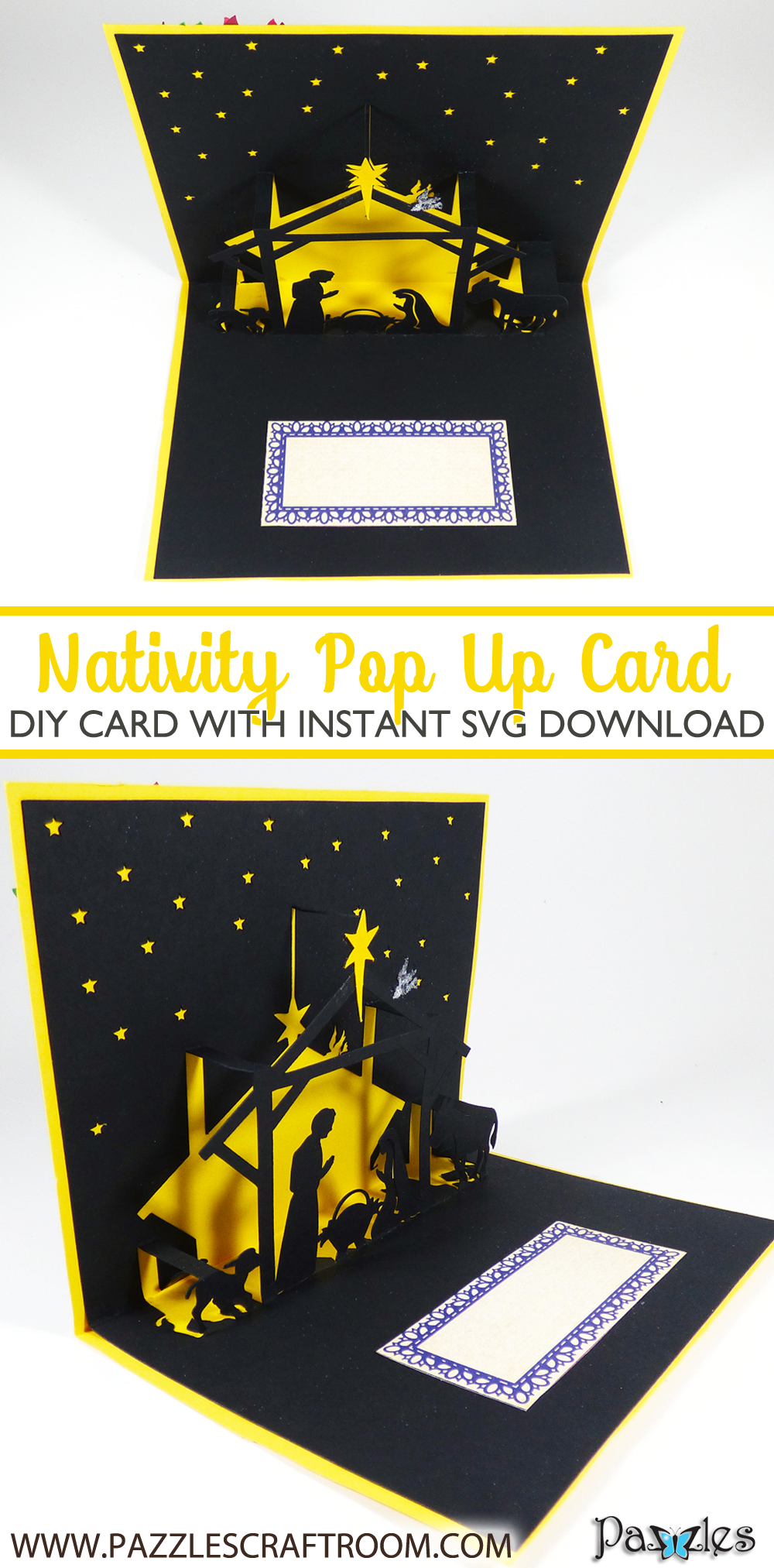 Pazzles DIY Christmas Nativity Pop Up Card with instant SVG download compatible with all major electronic cutters including Pazzles Inspiration, Cricut, and Silhouette Cameo. Design by Julie Flanagan.