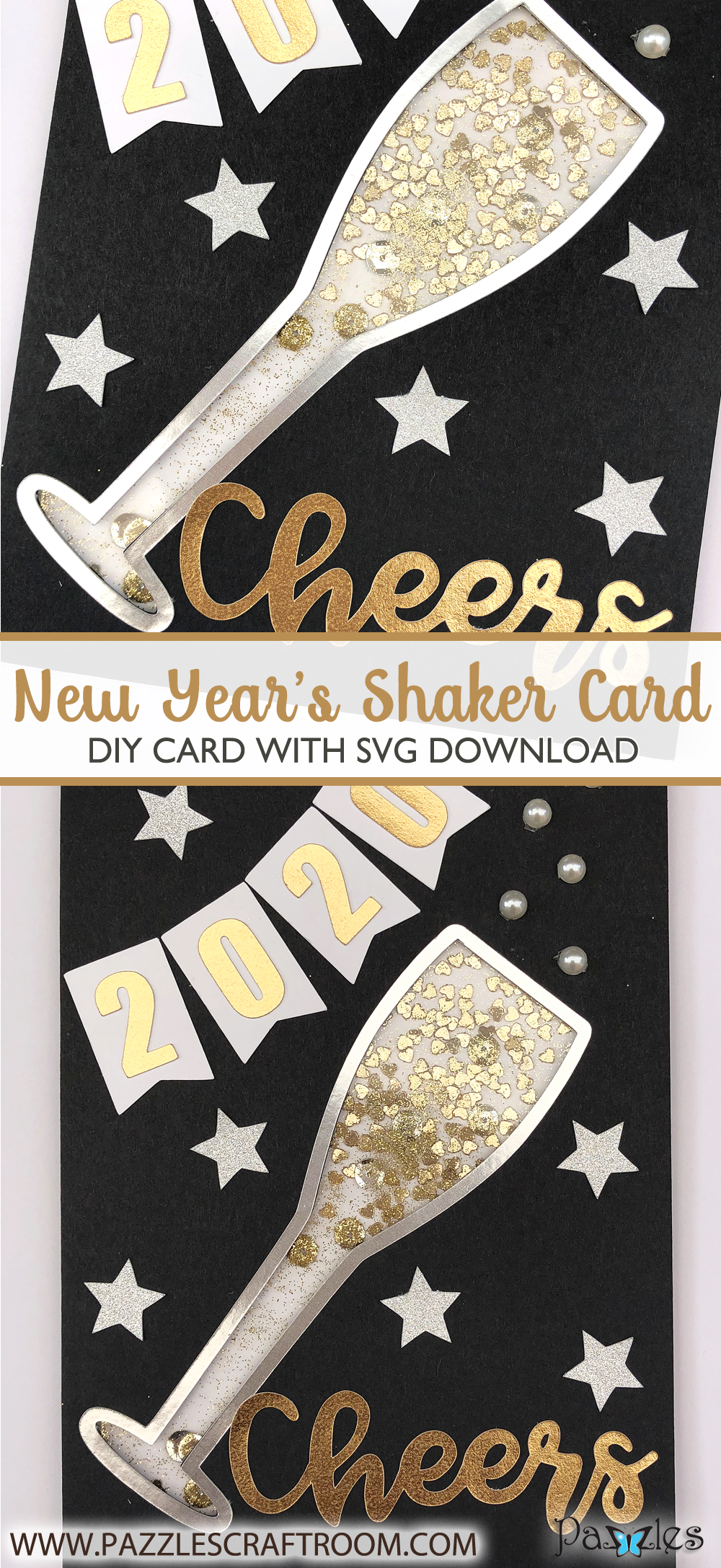 Pazzles DIY New Year's Shaker Card with instant SVG download. Compatible with all major electronic cutters including Pazzles Inspiration, Cricut, and Silhouette Cameo. Design by Alma Cervantes.
