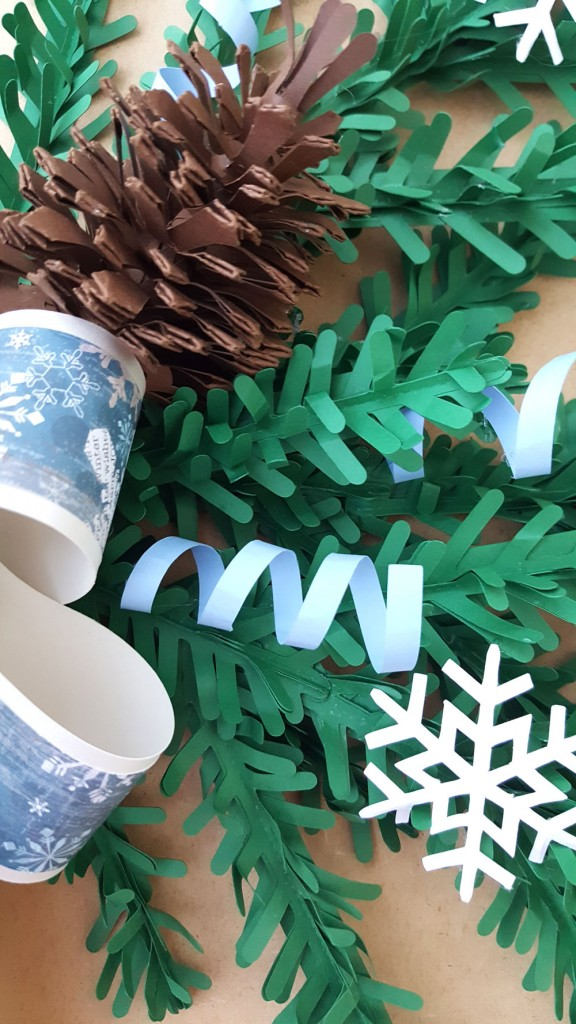 Winter Christmas swag made entirely of paper