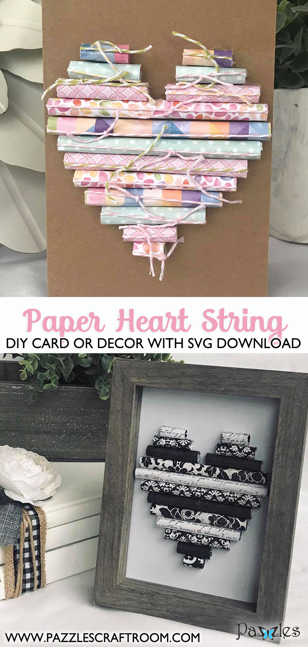 Pazzles DIY Paper Heart Strings Card or Decor.  Instant SVG download compatible with all major electronic cutters including Pazzles Inspiration, Cricut, and Silhouette Cameo. Design by Leslie Peppers.